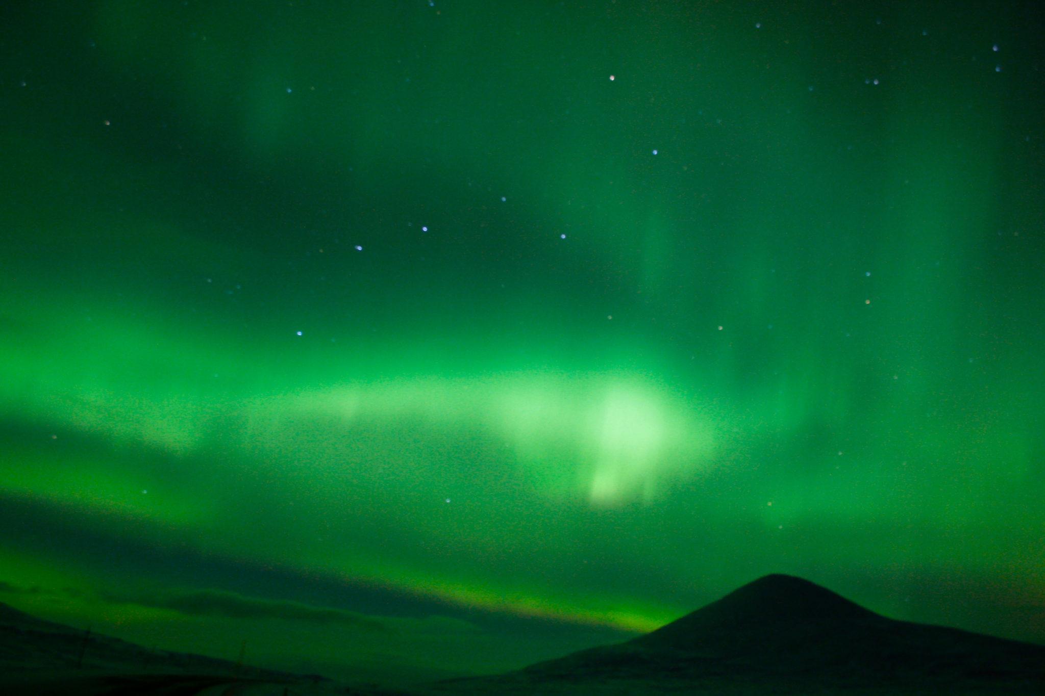 """""""Nordlyset over Muen"""" Jeg tok dette bildet på Venabygdsfjellet 2. juledag 2014, der nordlyset danser over nattehimmelen og lyser opp over majestetiske Muen. Dette var mitt første forsøk på å ta bilde av nordlyset, så jeg er veldig glad i det likevel."""