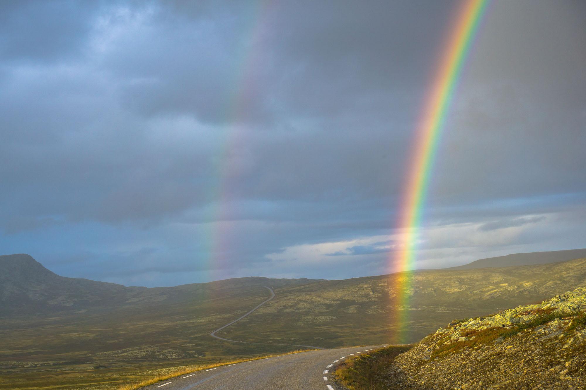 """""""Sammen skal vi leve hver søster og hver bror, små barn av regnbuen og en frodig jord"""" Bilde fra Friisvegen nedenfor Remdalshøgda."""